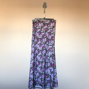 Purple and green floral maxi skirt
